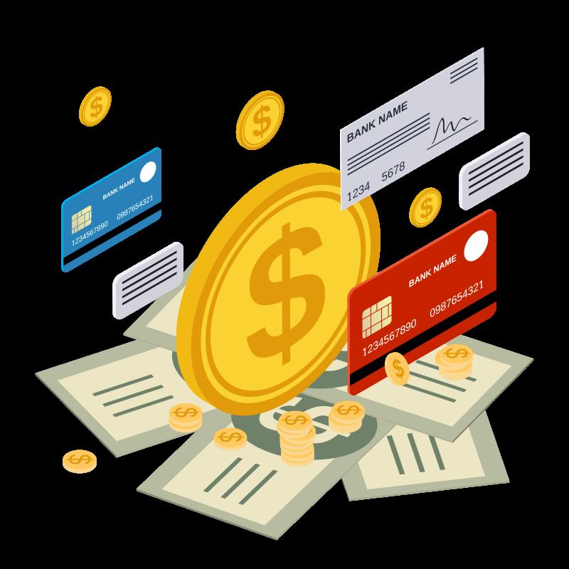 fintechs o que são ilustração de dinheiro e formas de pagamento