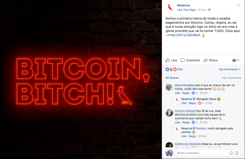 Reserva usa Bitcoin