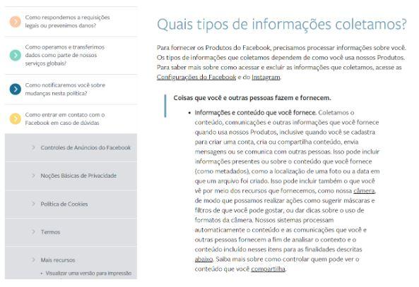 privacidade dos dados com facebook